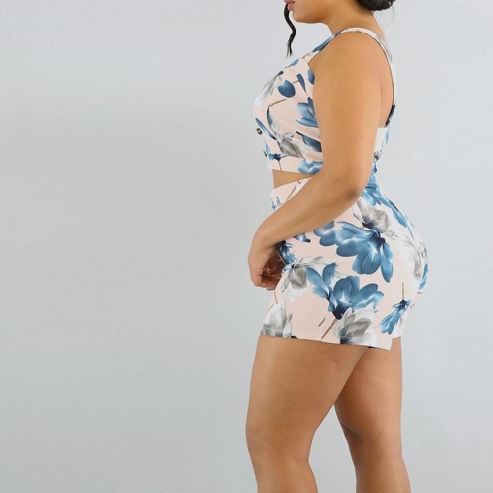 Posh Shoppe: Plus Size 2 Piece Coordinating Top & High Waist Shorts Bottoms