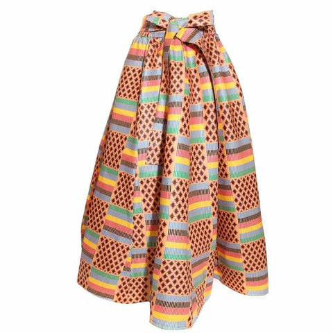 Plus Size Heavy Weight Sash Waist Dashiki Print Skirt, Yellow/Purple Print