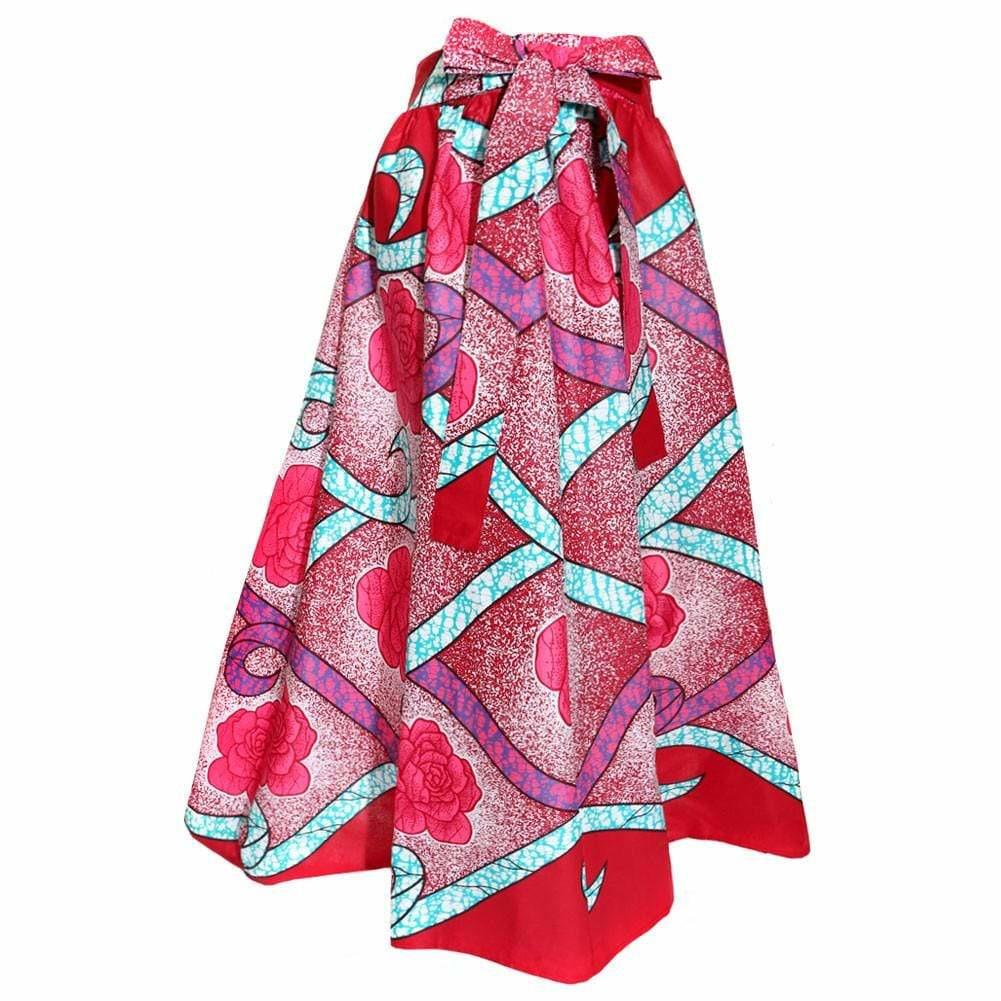 Posh Shoppe: Plus Size Sash Waist Ankara Print Skirt, Red and Pink Roses Bottoms