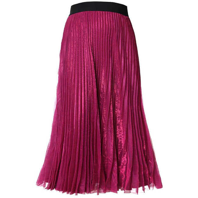 Posh Shoppe: Plus Size Pleated Shimmer Maxi Skirt, Berry Bottoms
