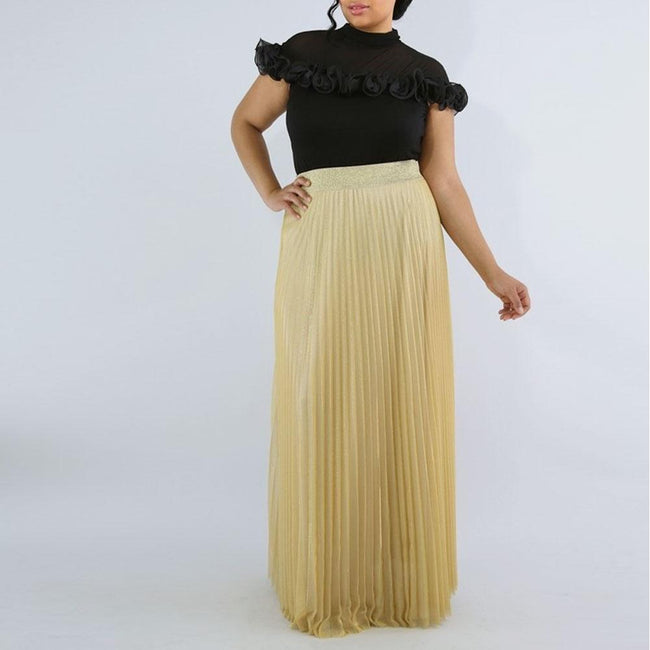 Posh Shoppe: Plus Size Pleated Shimmer Maxi Skirt, Gold Bottoms