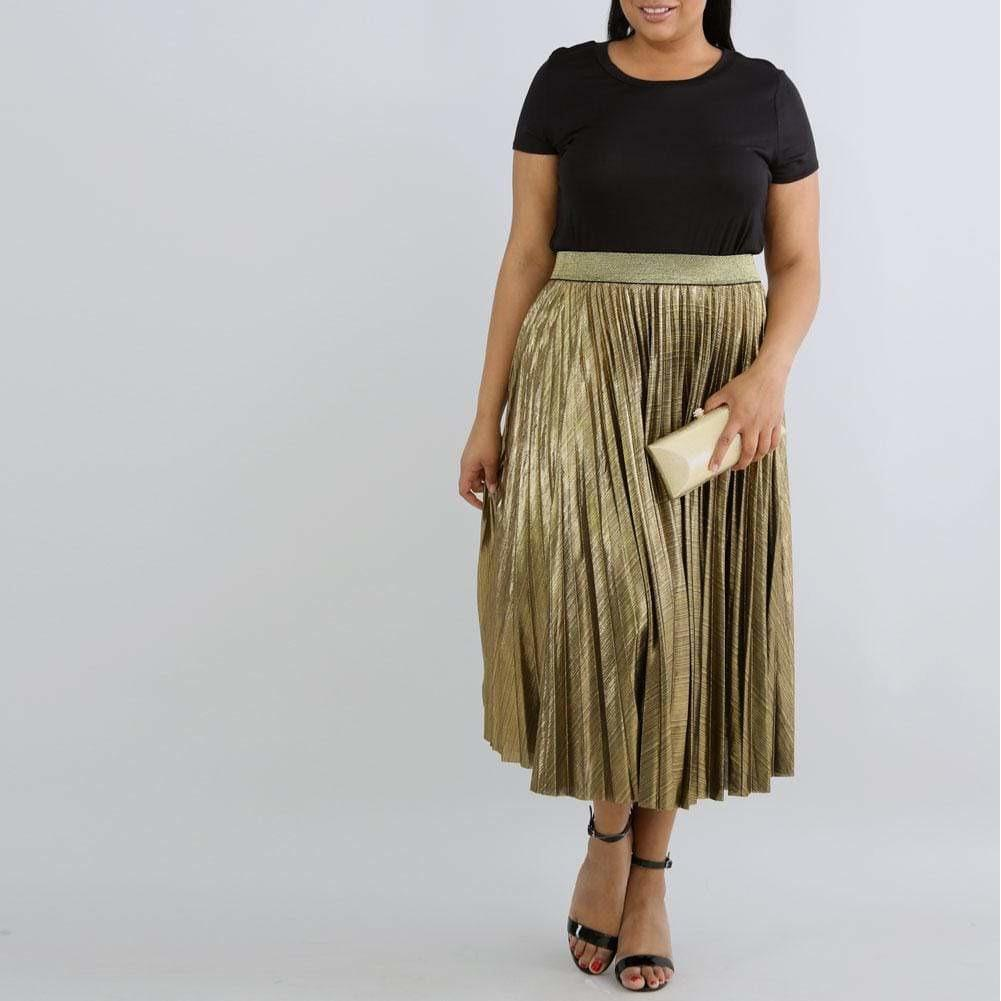Posh Shoppe: Plus Size Pleated Metallic Midi Skirt, Gold Bottoms