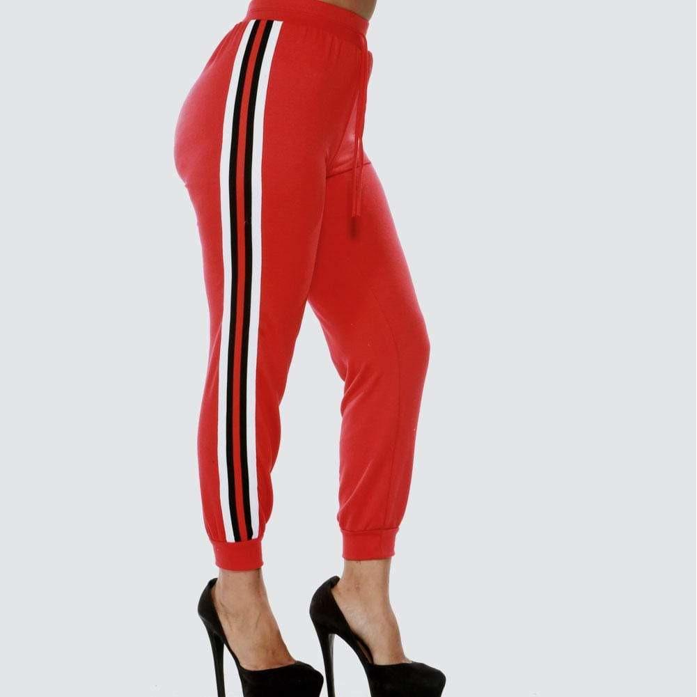 Plus Size Sporty Side Stripe Joggers, Red