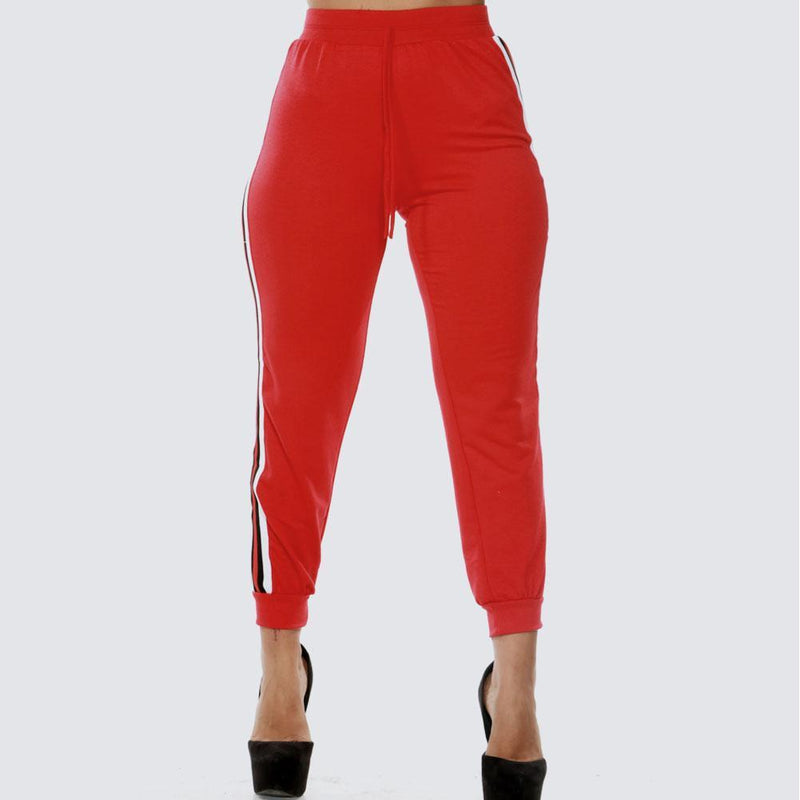 Posh Shoppe: Plus Size Sporty Side Stripe Joggers, Red Bottoms
