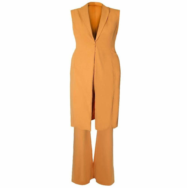 Posh Shoppe: Plus Size Vest and Flared Pants 2 Piece Set, Mustard Yellow Bottoms