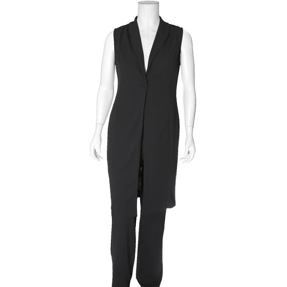 Posh Shoppe: Plus Size Vest and Flared Pants 2 Piece Set, Black Bottoms
