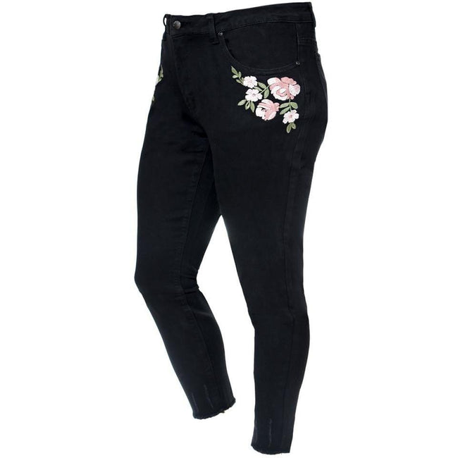 Plus Size Mid Rise Cropped Skinny Jeans with Embroidery, Black