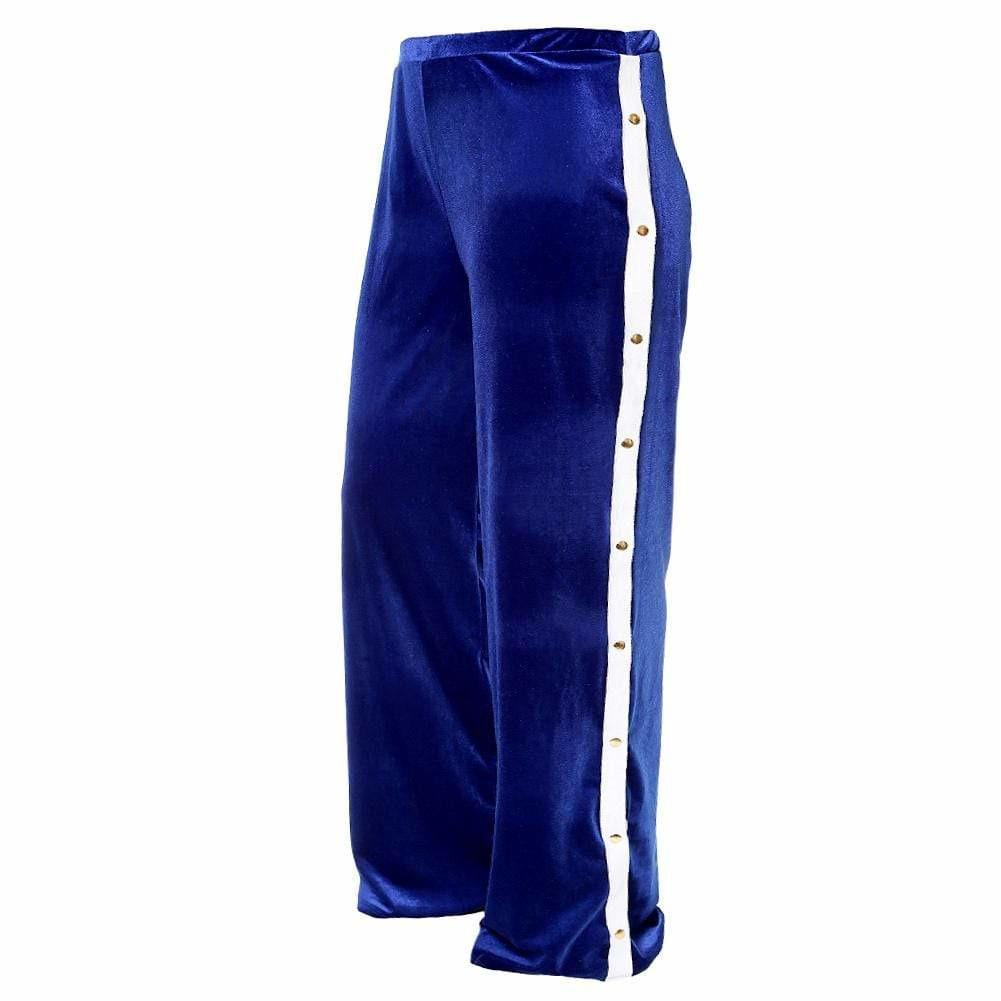 Posh Shoppe: Plus Size Velvet Side Snap Closure Pants, Blue Bottoms