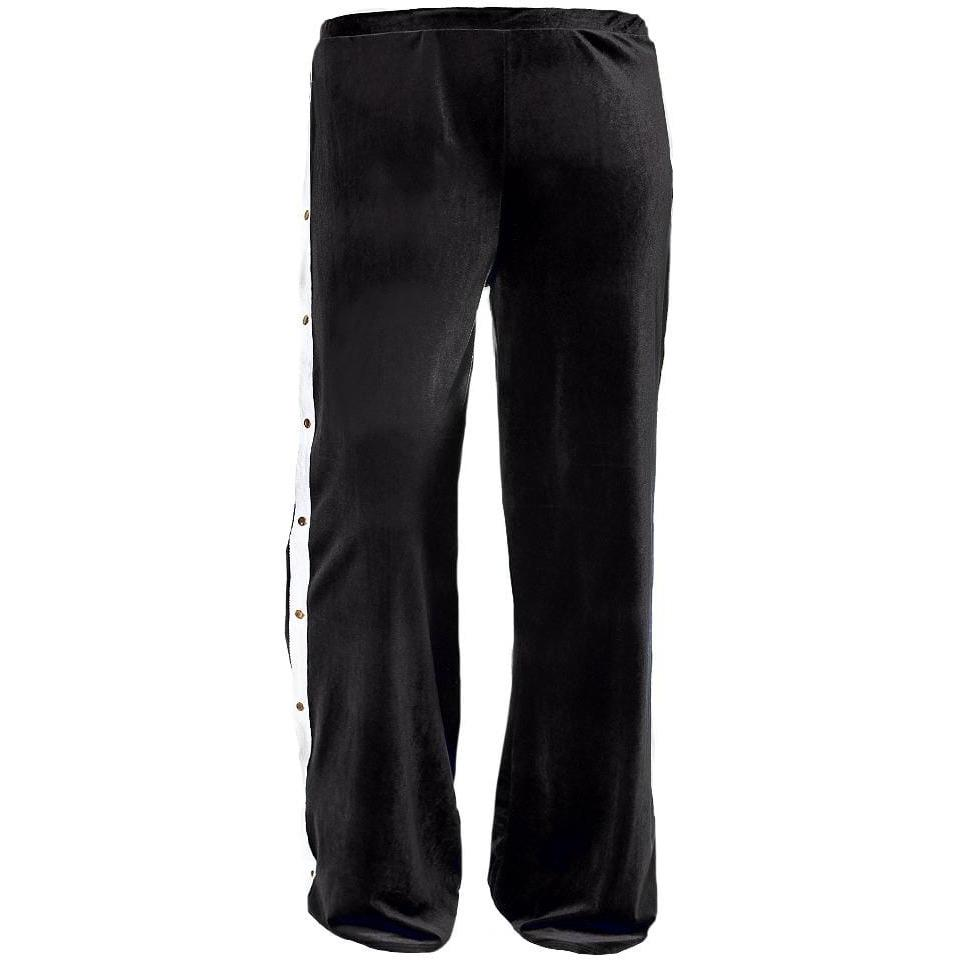 Posh Shoppe: Plus Size Velvet Side Snap Closure Pants, Black Bottoms
