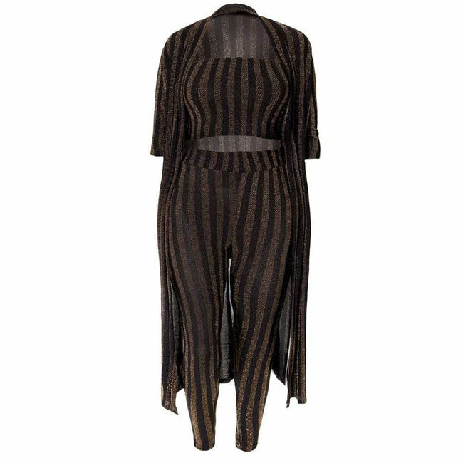 Plus Size 3 Piece Metallic Knit Set, Black & Gold Stripes