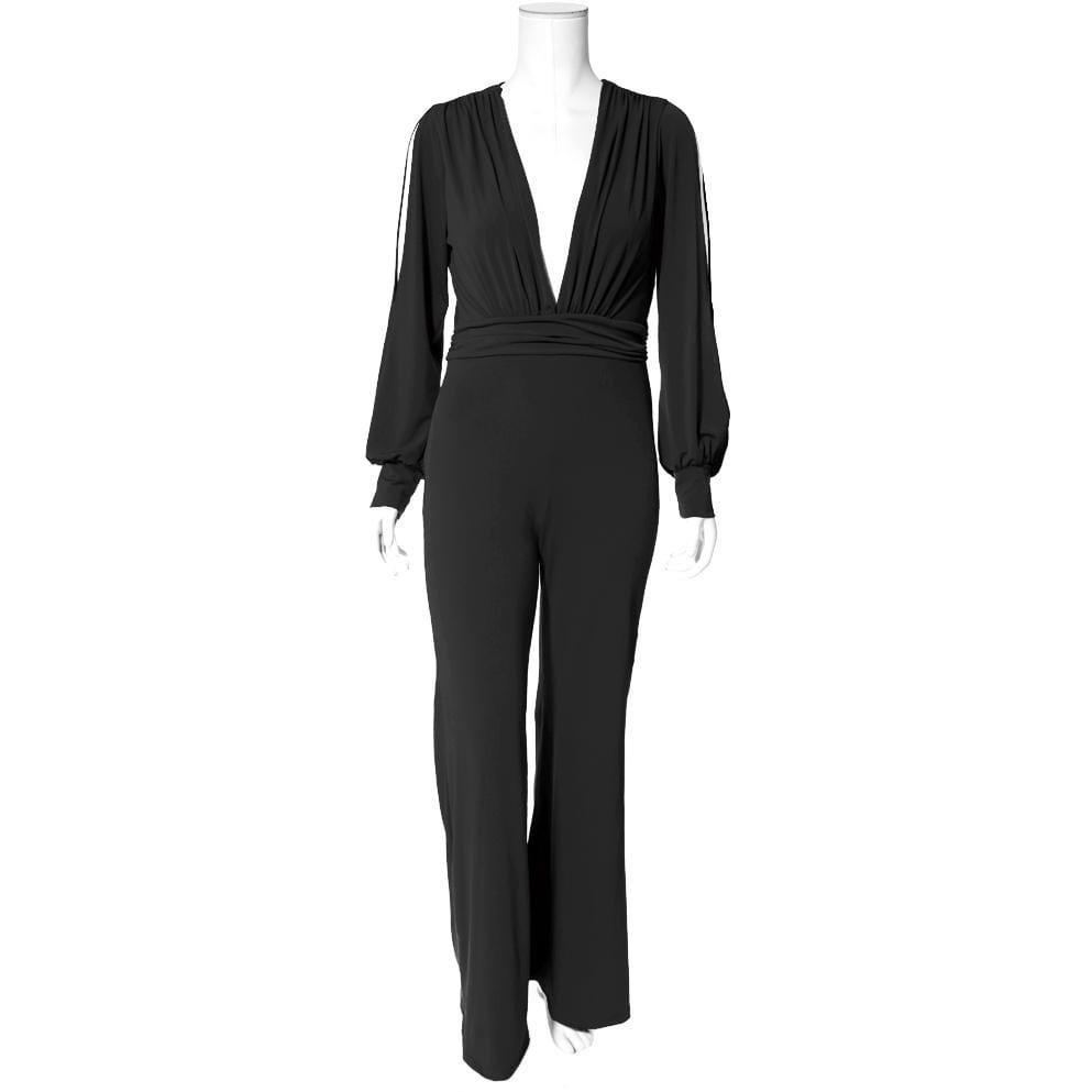 Plus Size Split Sleeve Flared Leg Jumpsuit, Black