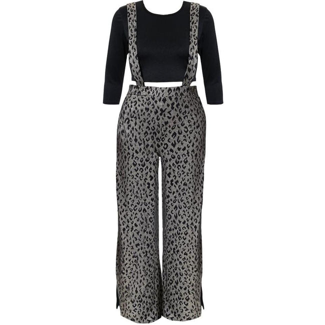 Posh Shoppe: Plus Size Crop Top and Split Leg Overalls Coordinated Set Bottoms