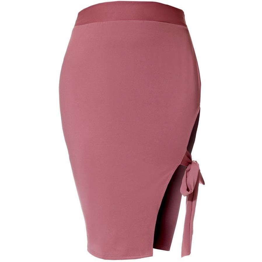 Posh Shoppe: Plus Size Tie Side Slit Pencil Skirt, Dusty Pink Bottoms