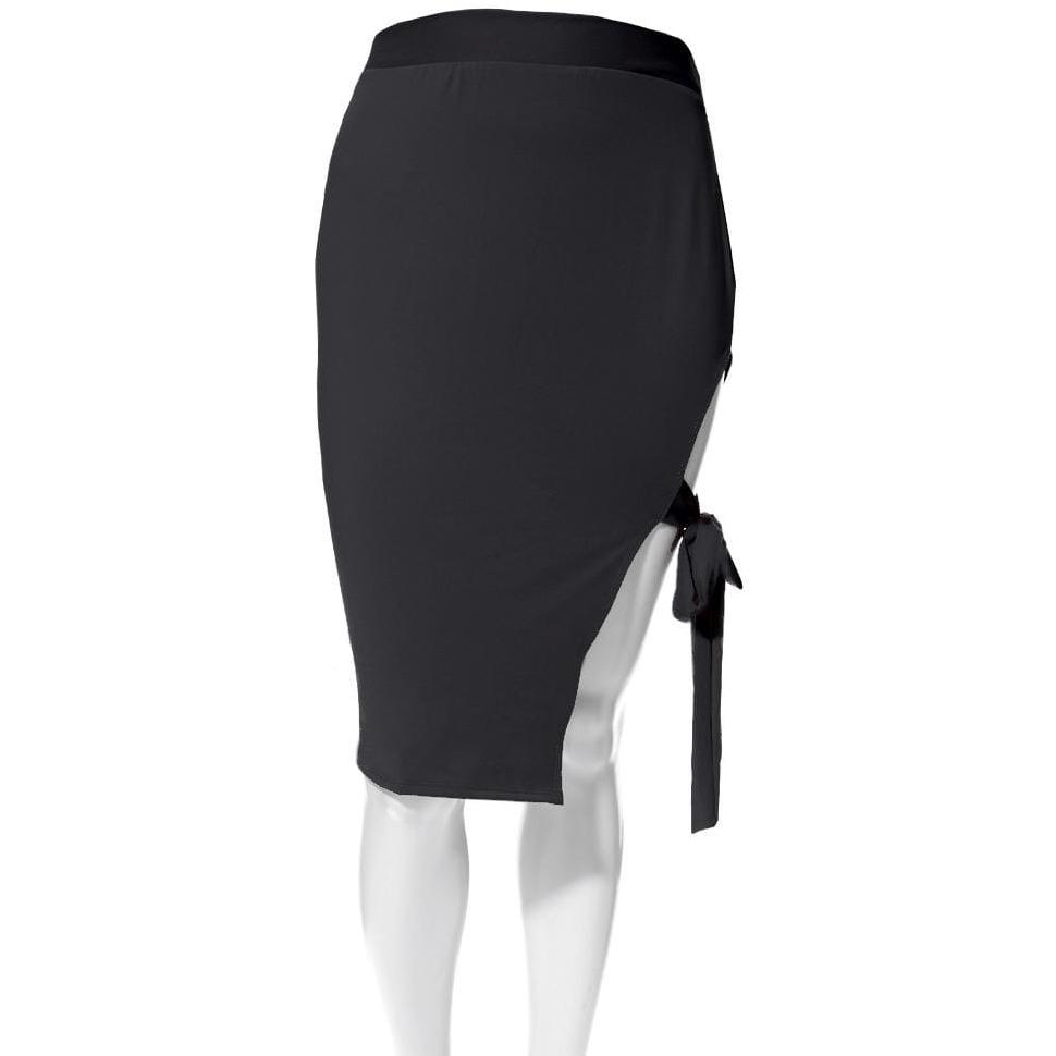Posh Shoppe: Plus Size Tie Side Slit Pencil Skirt, Black Bottoms