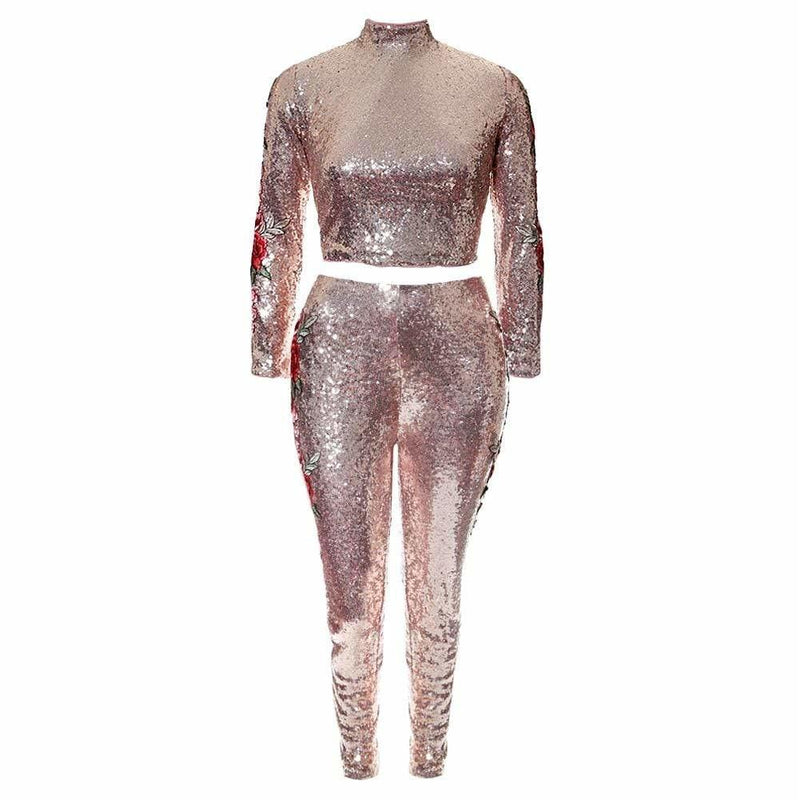 Posh Shoppe: Plus Size 2 Piece Sequins and Embroidery Party Top and Bottoms, Rose Gold Bottoms