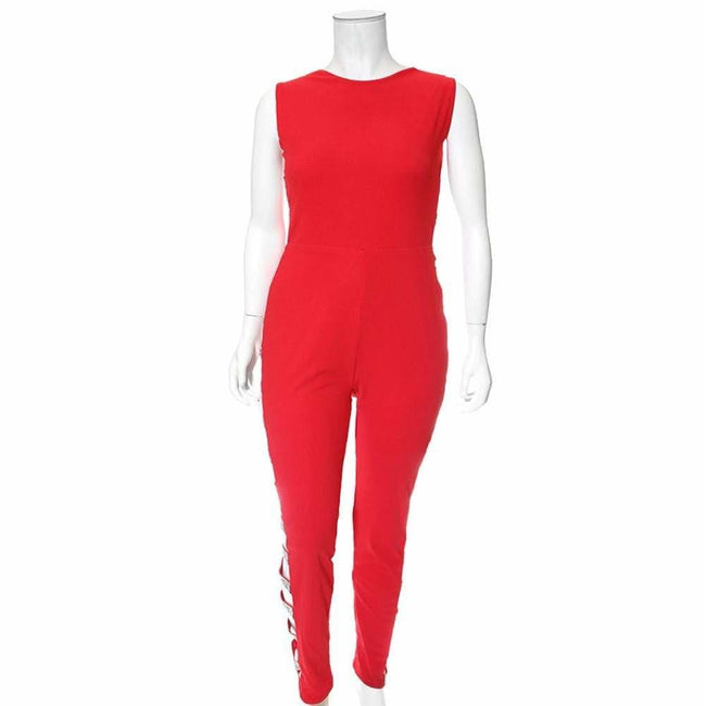 Plus Size Jeweled Bandage Jumpsuit, Red