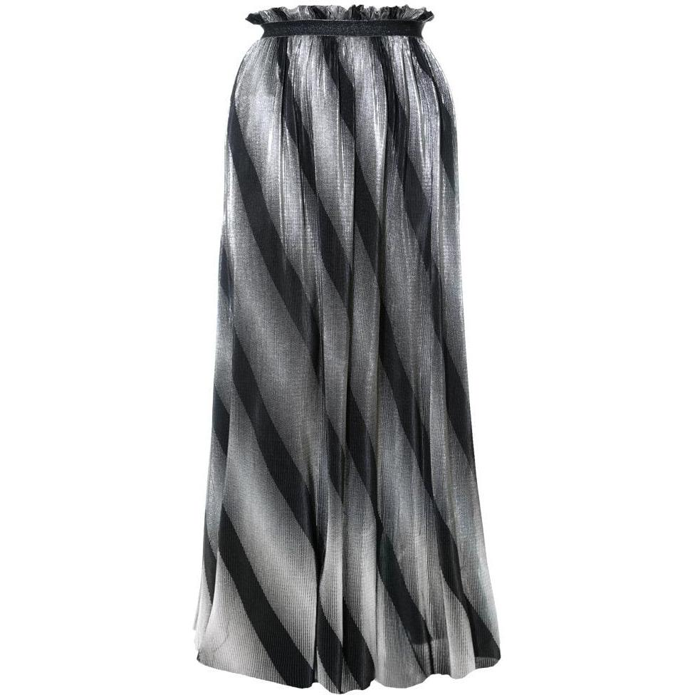 Posh Shoppe: Plus Size Pleated Metallic Maxi Skirt, Black and Silver Bottoms