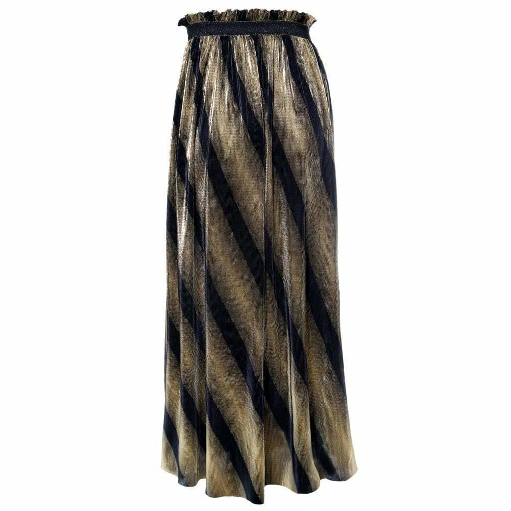 Plus Size Pleated Metallic Maxi Skirt, Black and Gold