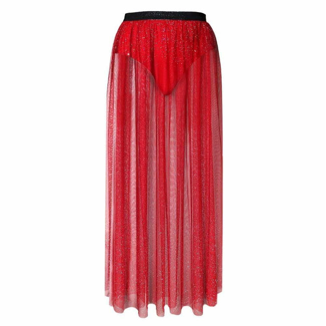 Plus Size Sheer Tulle Maxi with Ombre Jewels, Red