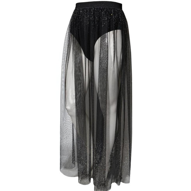 Plus Size Sheer Tulle Maxi with Ombre Jewels, Black