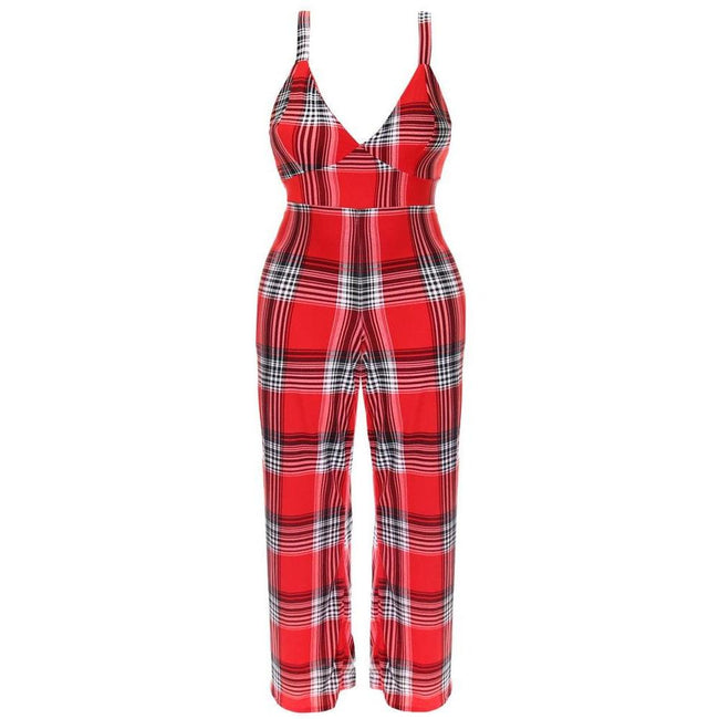 Posh Shoppe: Plus Size Plaid Print Jumpsuit, Red Bottoms