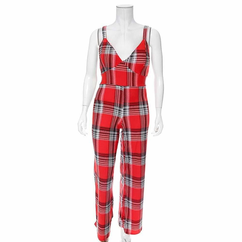 Posh Shoppe: Plus Size Plaid Print Jumpsuit, Red Plaid Bottoms