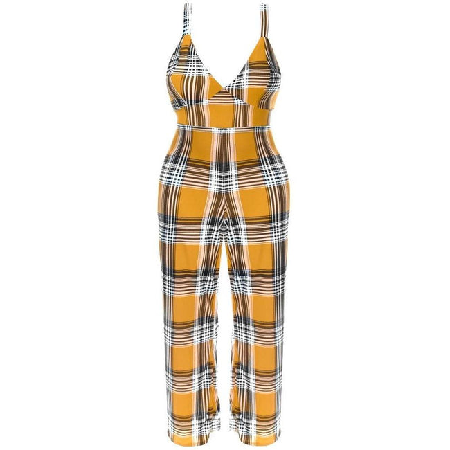 Posh Shoppe: Plus Size Plaid Print Jumpsuit, Mustard Bottoms