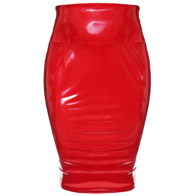 Plus Size Wet Look Bodycon Skirt, Red