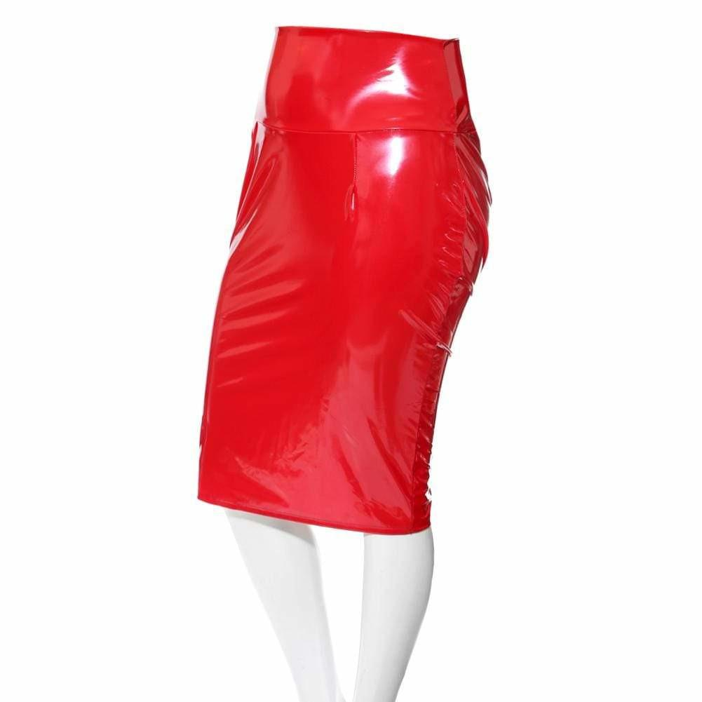 Posh Shoppe: Plus Size Wet Look Bodycon Skirt, Red Bottoms