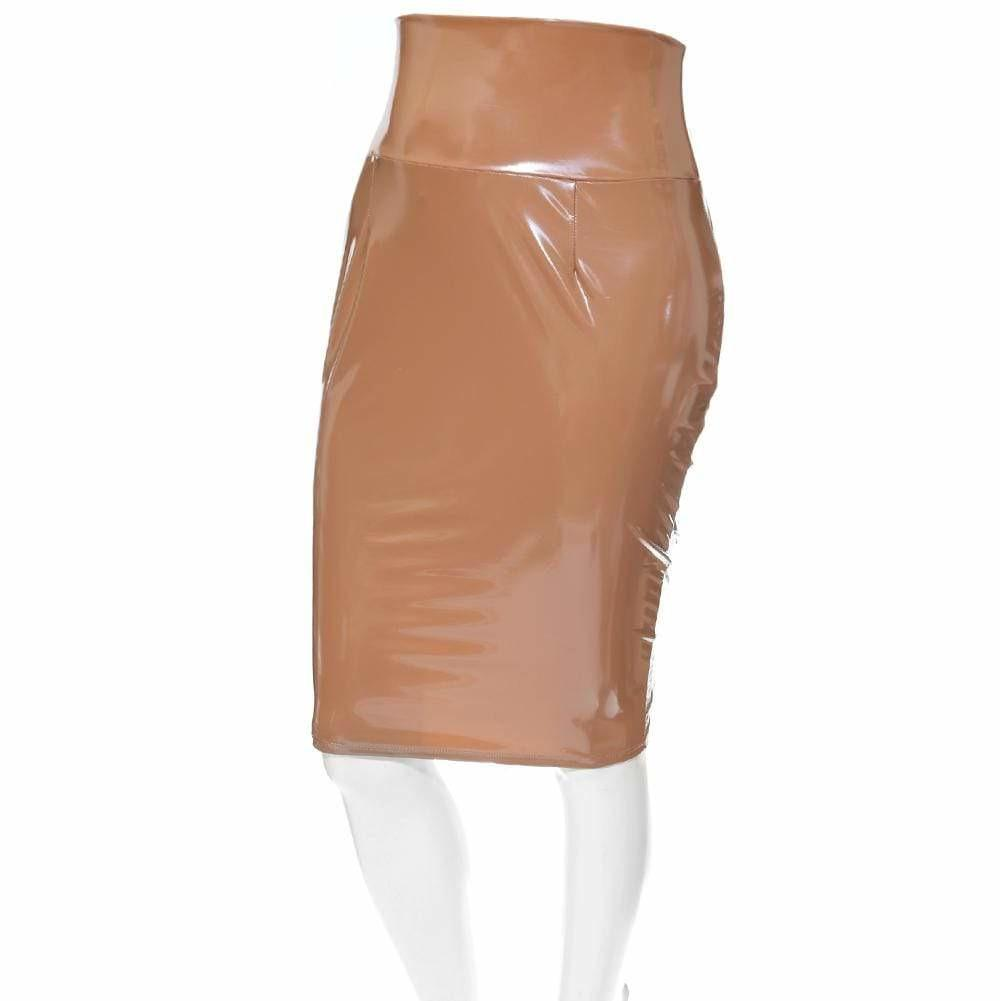 Posh Shoppe: Plus Size Wet Look Bodycon Skirt, Nude Bottoms