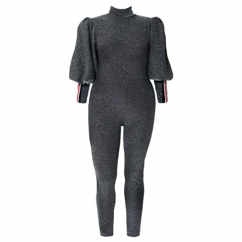 Plus Size Metallic Knit Puff Sleeve Jumpsuit, Silver