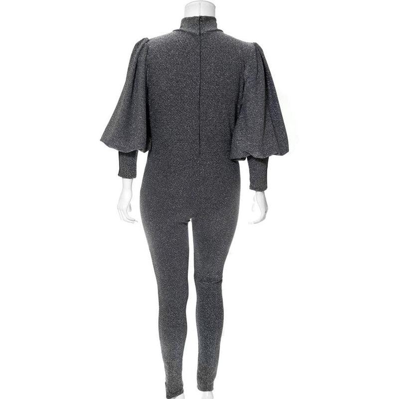 Posh Shoppe: Plus Size Metallic Knit Puff Sleeve Jumpsuit, Silver Bottoms