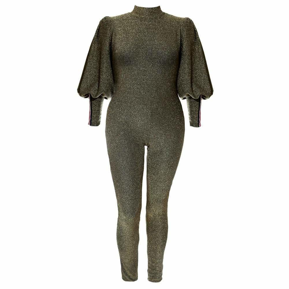 Plus Size Metallic Knit Puff Sleeve Jumpsuit, Gold