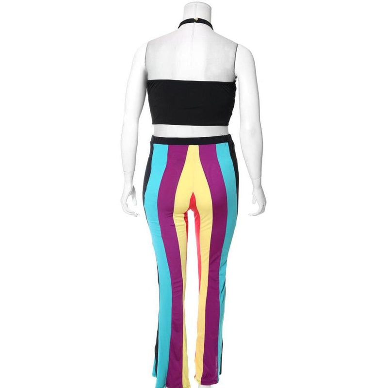 Posh Shoppe: Plus Size 2 Piece Color Block Halter Top and Flare Pants Set, Purple Mix Bottoms