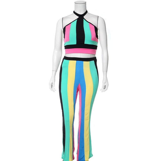 Posh Shoppe: Plus Size 2 Piece Color Block Halter Top and Flare Pants Set, Mint Mix Bottoms