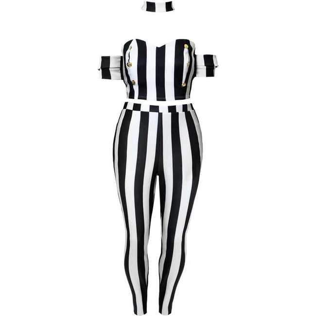 Posh Shoppe: Plus Size 2 Piece Striped Choker Top and Bottoms Set Bottoms