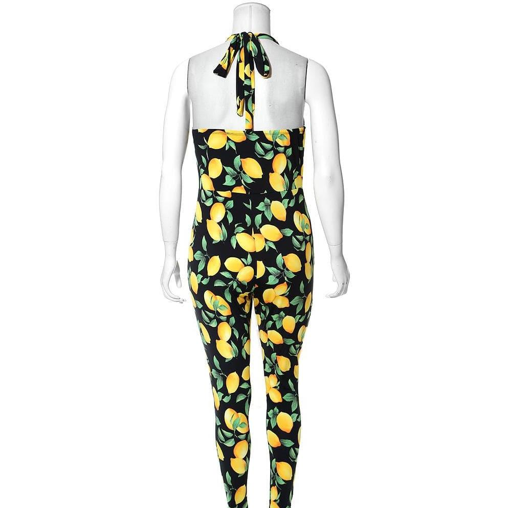 Plus Size Sweet Heart Halter Jumpsuit, Lemon Print