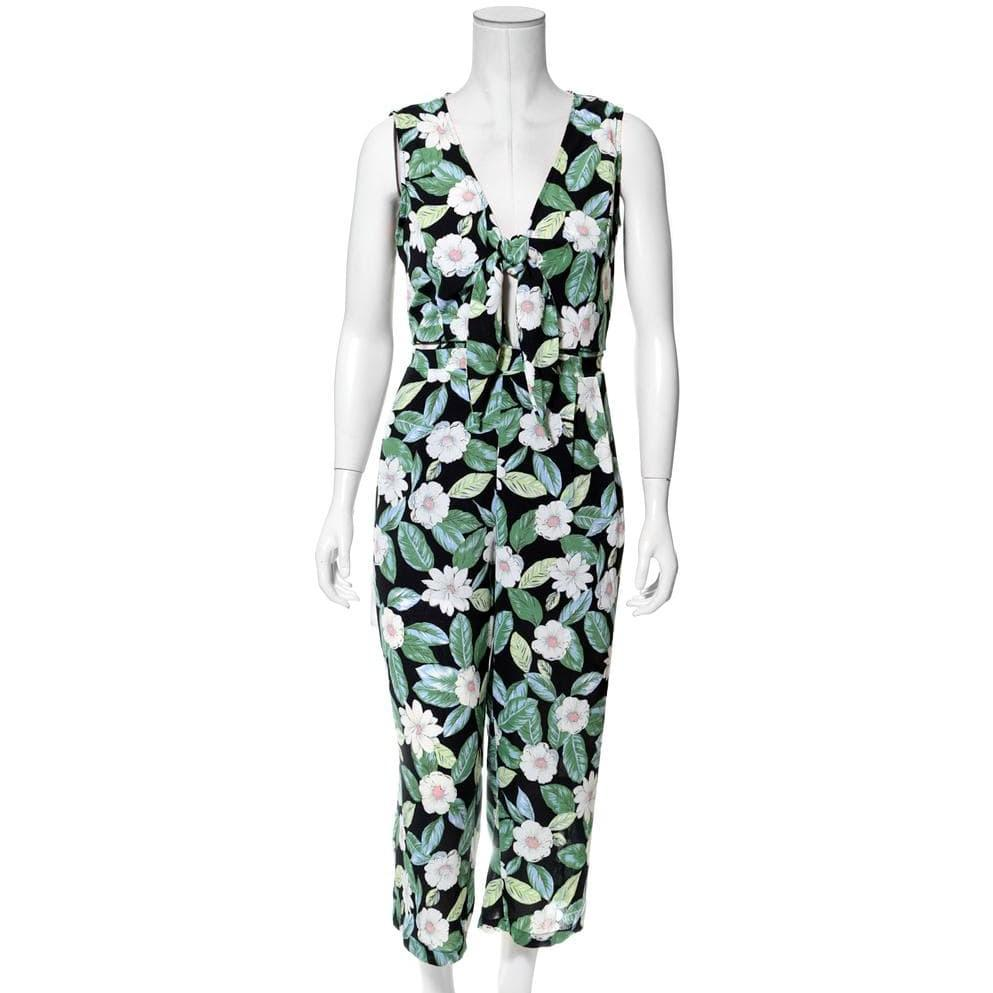Posh Shoppe: Plus Size Tie Front Wide Leg Jumpsuit, Floral Print Bottoms