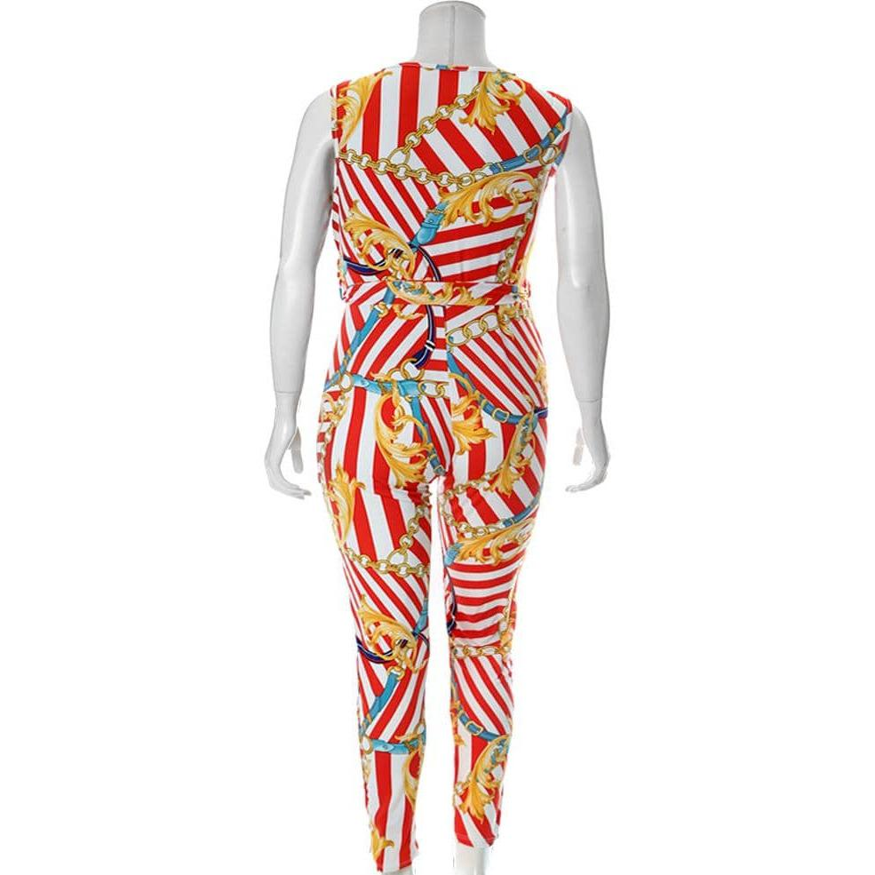 Posh Shoppe: Plus Size Drape Top Chain Print Jumpsuit, Bright Red and White Bottoms
