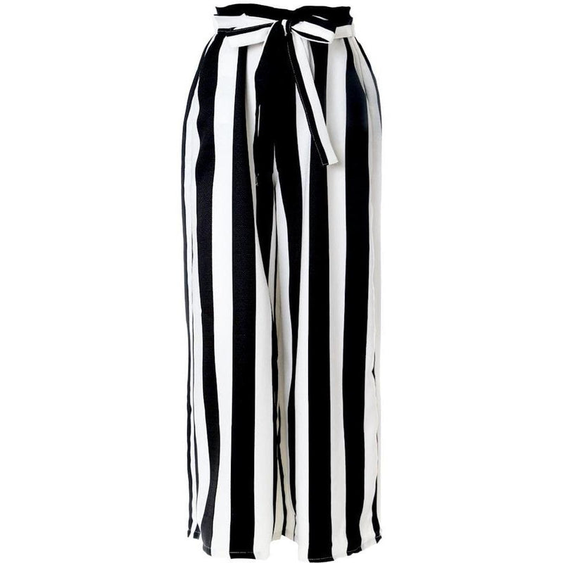 Posh Shoppe: Plus Size Wide Leg Striped Pants, Black and White Bottoms