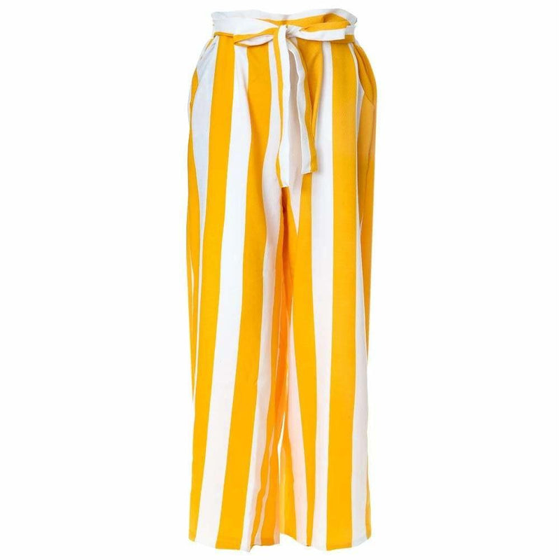 Posh Shoppe: Plus Size Wide Leg Striped Pants, Mustard and White Bottoms