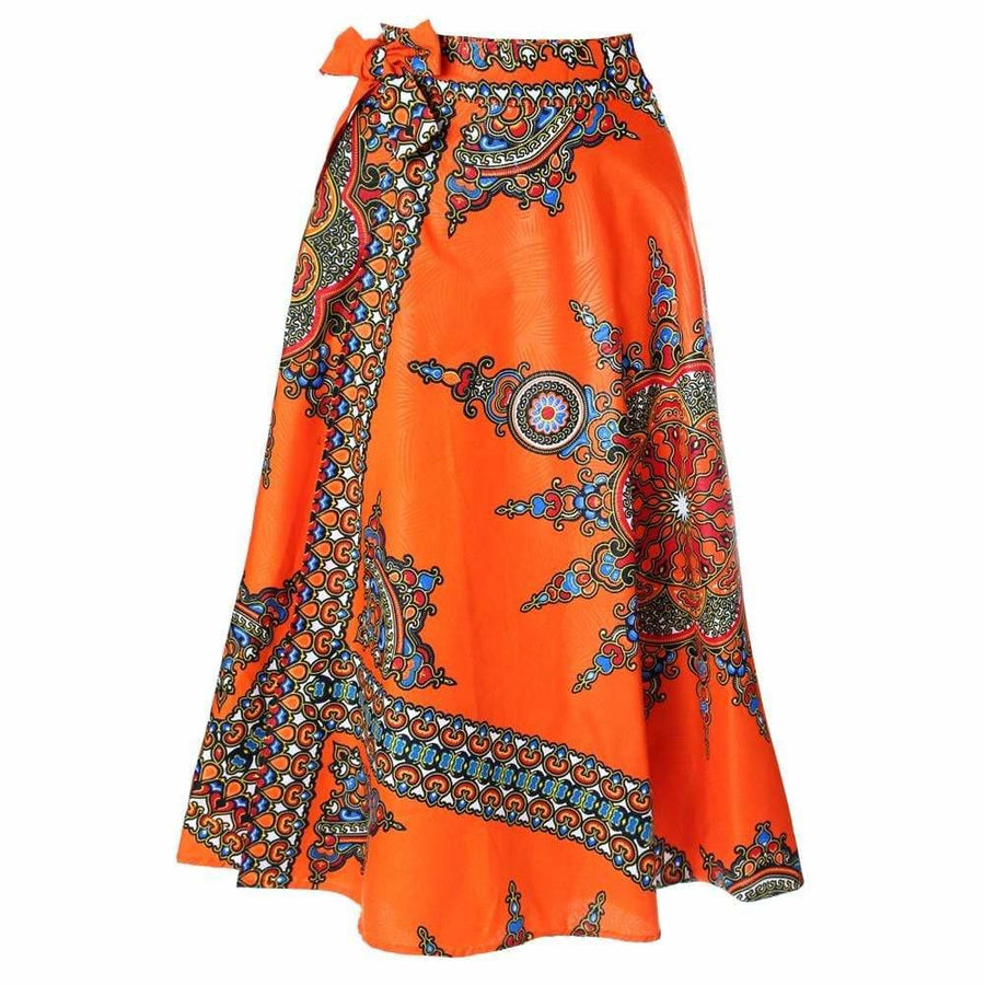 4294ee47cd7 Plus Size Wrap Printed Maxi Skirt