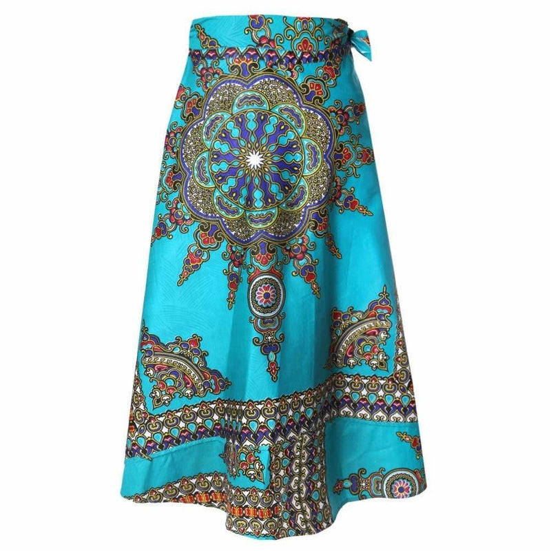 Posh Shoppe: Plus Size Wrap Printed Maxi Skirt, Emerald Bottoms