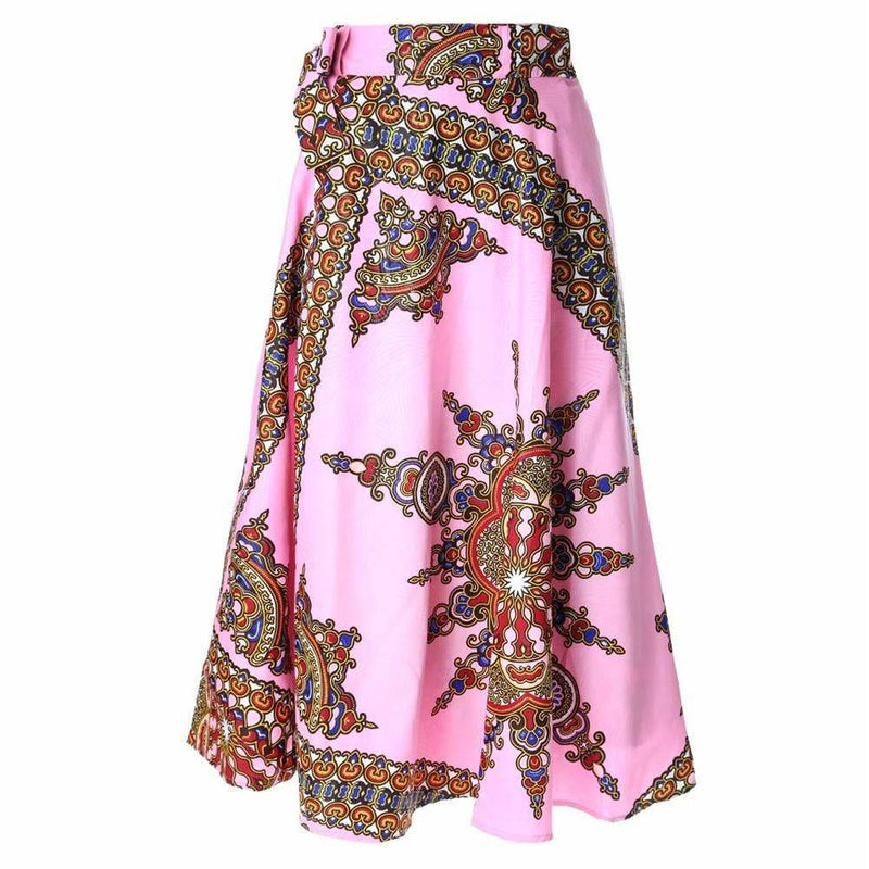 Posh Shoppe: Plus Size Wrap Printed Maxi Skirt, Orchid Pink Bottoms