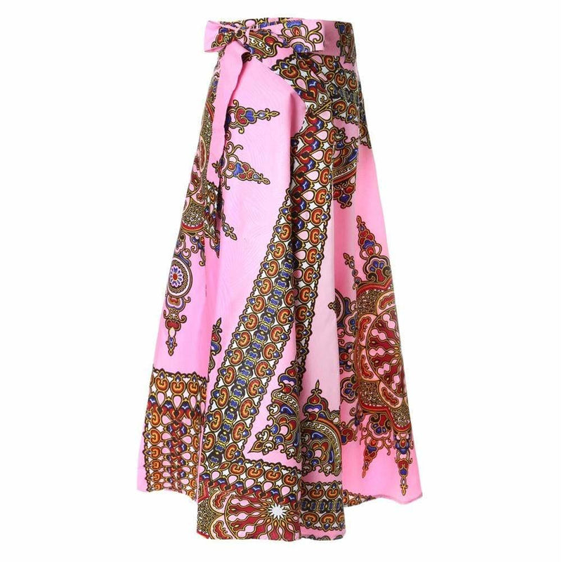 Plus Size Wrap Printed Maxi Skirt, Orchid Pink