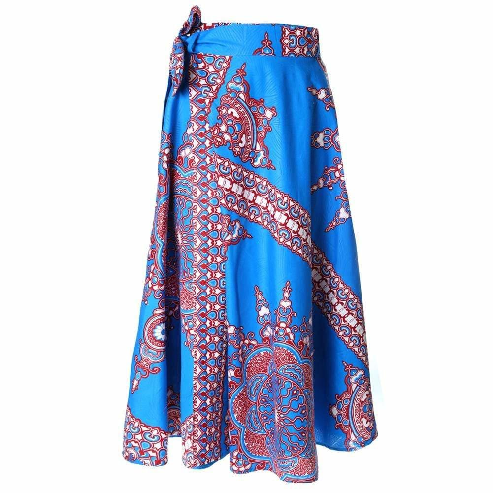 Posh Shoppe: Plus Size Wrap Printed Maxi Skirt, Brilliant Blue Bottoms
