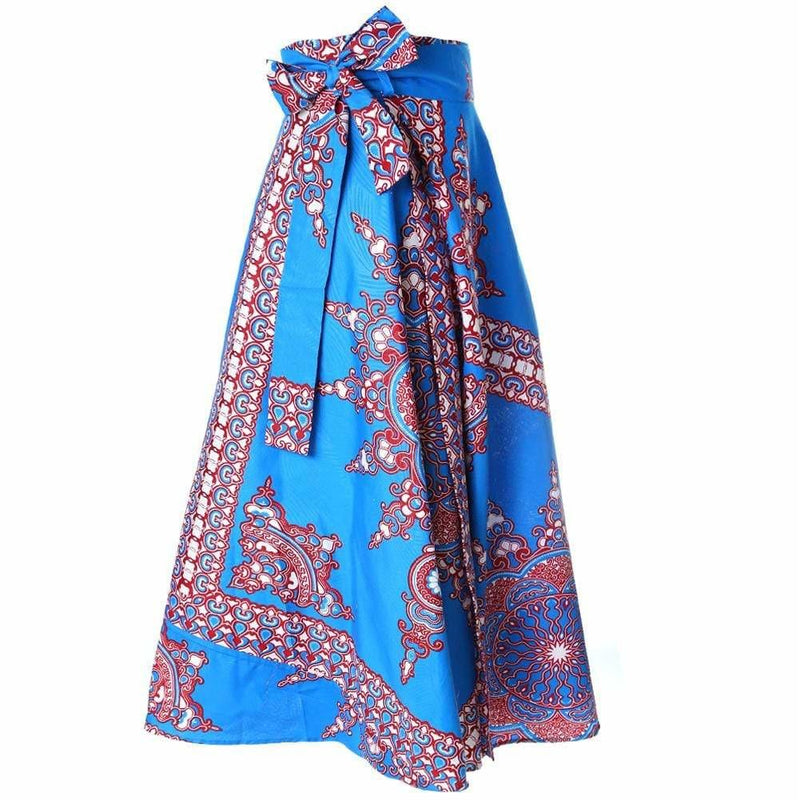 Plus Size Wrap Printed Maxi Skirt, Brilliant Blue