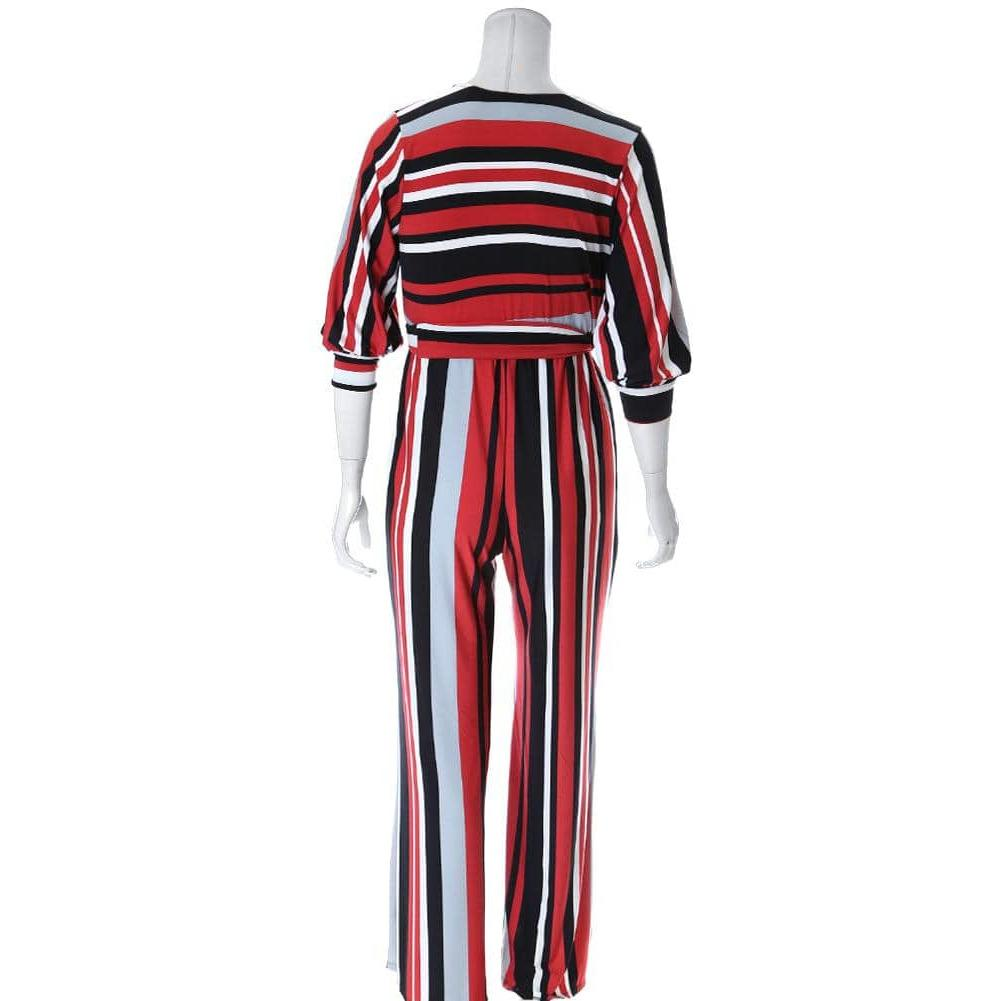 Posh Shoppe: Plus Size Belted Striped Wide Leg Jumpsuit Bottoms