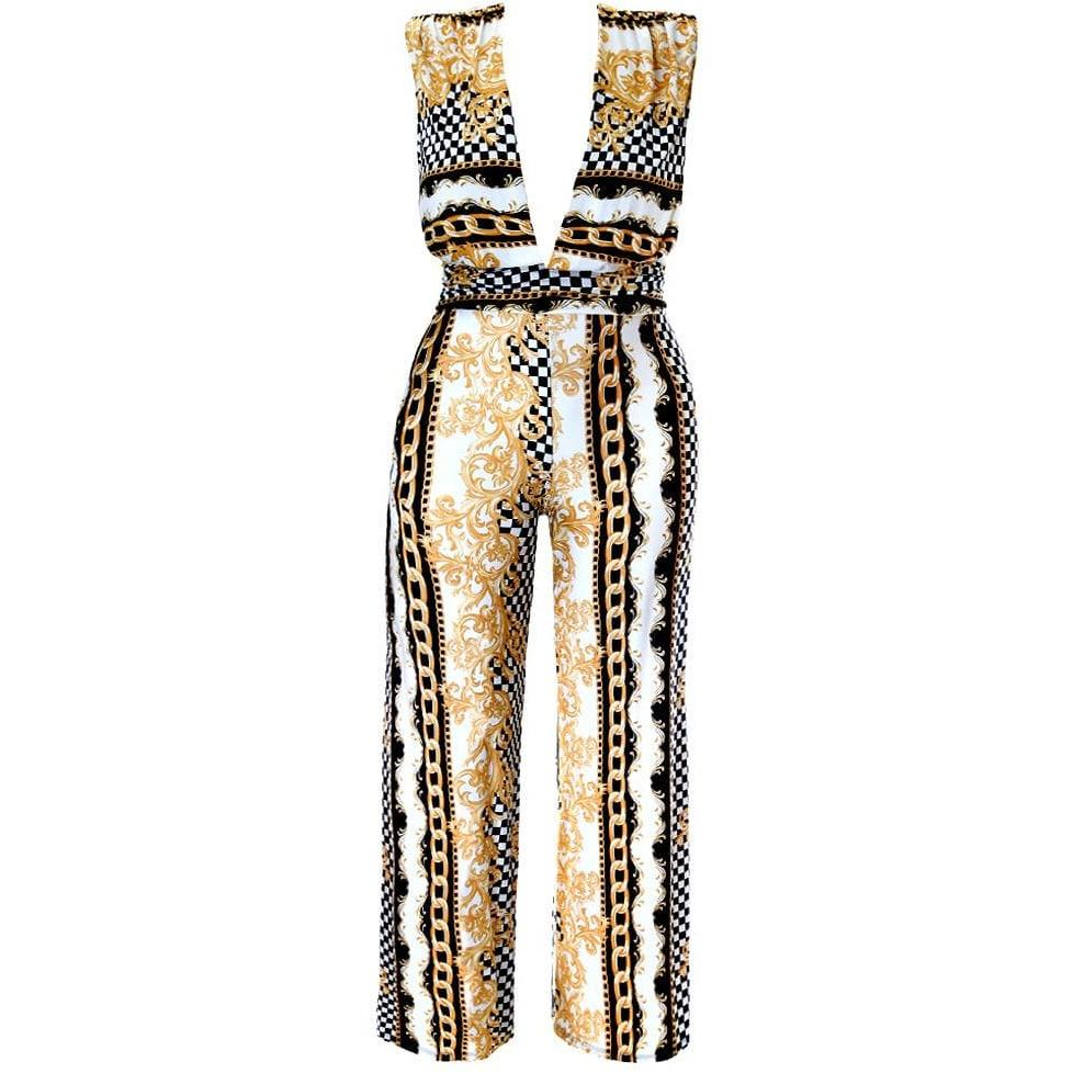 Posh Shoppe: Plus Size Plunge Front Print Jumpsuit, White Bottoms