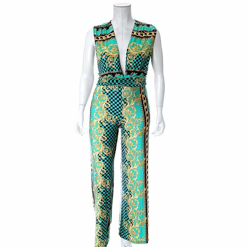 Posh Shoppe: Plus Size Plunge Front Print Jumpsuit, Green Bottoms